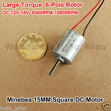 DC 12V 6500RPM Micro 15MM Square Motor Large Torque 6-Pole Rotor Small DC Motor