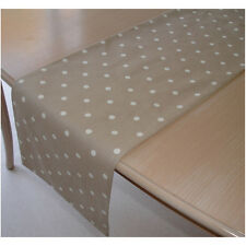 NEW Table Runner 5ft ( 150cm ) Taupe Beige Mushroom Brown White Polka Dots 60""