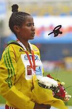 ATHLETICS: KALKIDAN FENTIE SIGNED 6x4 MEDAL PHOTO+COA *RIO 2016* *ETHIOPIA*