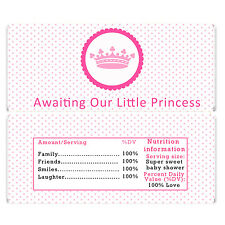 30 Princess Candy Bar Wrapper Chocolate Label Baby Girl Shower Pink Crown