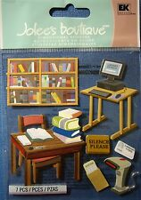 NEW 7 pc LIBRARY Books Table Computer Scanner Card Table JOLEE'S 3D Stickers