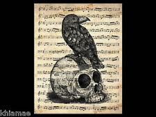 RAVEN on SKULL 10x8 MUSIC SHEET ART PRINT vintage crow poster gothic dictionary