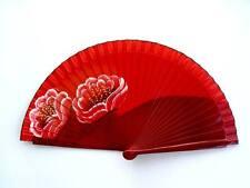 Fächer Taschenfächer Handfächer aus Holz und Stoff Handbemahlt Blumen Nr.6