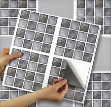 "4 Tile Transfer Stickers 6"" x 6"" GRAPHITE MOSAIC for Kitchen & Bathroom tiles"