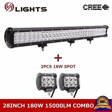 180W 28inch Cree Led Light Bar Combo Beam Off Road Fog JEEP With 18W Spot Lamp