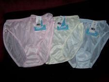 3 pairs Sheer colors Nylon Bikini Panties  6 - made in USA - appliques