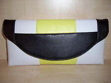 COLOUR BLOCK BLACK, YELLOW & WHITE faux leather clutch bag, UK made