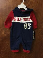 Tommy Hilfiger Baby-Boys Newborn Coverall with Hoody, Navy/Red, 0-3 Months