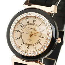 Luxury Golden Bezel Fashion Jelly Quartz Wrist Watch Women Vintage Black Rubber