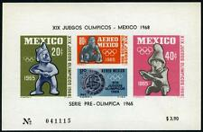 Mexico C310a S/S, MI Bl.3, MNH. Pre-Olympic Games, Mexico. Ancient founds, 1965