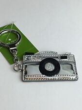 NEW NWOT Authentic Kate Spade Silver Camera Spade Key Ring FOB Keychain