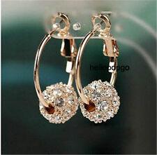 18K Rose Gold Gp Austrian VSKl Crystal Ball Hoop Beautiful Earrings BR1079