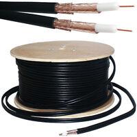 100M Twin Coaxial Shotgun Cable -Copper Foam- Satellite Dish LNB SKY HD Freesat