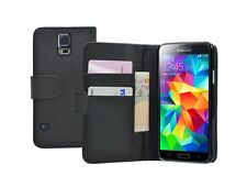 WALLET Black Leather Flip Case Cover Pouch Samsung Galaxy S5 SM-G900V SM-G900P