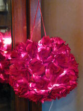 "Red Roses Fabric Flower Hanging ""Kissing Ball"" Pendant Light, New !"