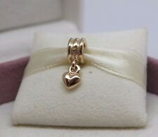 New w/Hinged Box Pandora 14K 585 Solid Gold Dangle Heart Charm #750198 Love