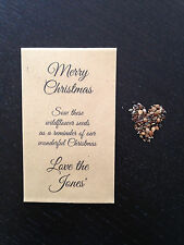 5 x Wildflower Seed CHRISTMAS Favours FREE PERSONALISATION Table Gift Xmas