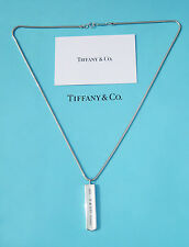 Tiffany & Co Sterling Silver Mens 1837 Bar Charm Snake Chain Necklace