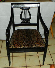 Mahogany Black Painted Lyre Back Chair / Armchair  (AC179)