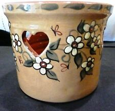 Eldreth Pottery Painted Heart Crock - great fall colors