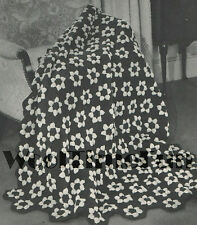 Vintage Crochet Pattern Hexagon Flower Afghan/Blanket.