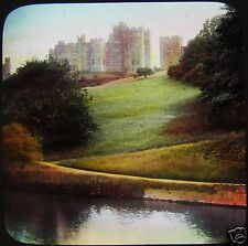 Glass Magic Lantern Slide ALNWICK CASTLE FROM THE RIVER C1910 NORTHUMBERLAND
