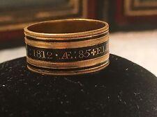 1812 Georgian Victorian Mourning Ring 18kt Gold Black Enamel