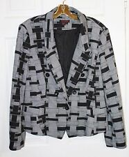 Simon Chang Womens Gray Black Blazer Jacket Geometric Print Size Medium