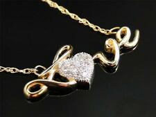 Womens Ladies 14K Yellow Gold Love Heart Diamond Pendant Charm with Chain