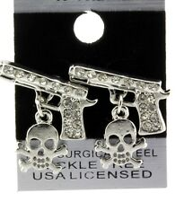 Silver Clear Iced Out Hip Hop Guns with Skulls Shape CZ Stud Bling Earrings