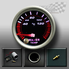 "WATER TEMP GAUGE 52mm 2"" SMOKED FACE 7 COLOUR DASH DISPLAY GAUGE MOUNT POD"