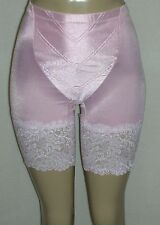 J NEW Pink Satin Long-Leg Panty Girdle Wide Lace Med-Firm Control 38W 4X