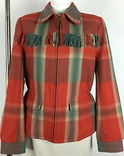 Ralph Lauren Polo Wool Fringed Jacket Womens 6 Rust Red Turquoise Plaid New