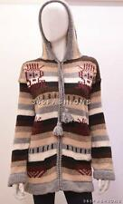 CHUNKY STRIPED FUNKY AZTEC ARROW ECUADOR HOOD CARDIGAN JUMPER GREY RED 14 16 18