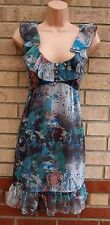 MISS SELFRIDGE GREY BLUE GREEN FLORAL SMOCK SILKY TUNIC CAMI RARE DRESS 16 XL