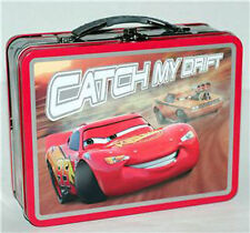 Tin Metal Lunch Snack Toy Box Embossed Cars McQueen Catch My Drift NEW