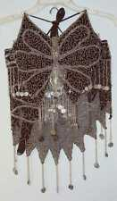 New_Belly Dance Butterfly Beaded, Embroidered Set w/Coins_Chocolate Brown