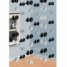 Age 40 - 40th Black and Silver String Happy Birthday Party Decoration - 993534
