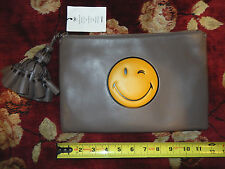 $995 Anya Hindmarch Gray Georgiana Wink Leather Clutch Wallet Purse Bag Handbag