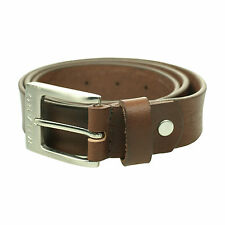 Milano Mens Full Belt Leather Black Brown Tan Silver Square Buckle 32mm and 40mm