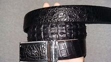BLACK GENUINE ALLIGATOR, Crocodile LEATHER SKIN MEN'S BELT