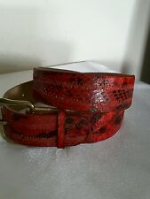 "Vintage Red Ladies Genuine Snake Skin Belt Measures 35 1/2"" Long"