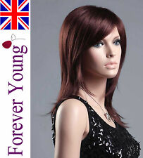 Ladies Long Dark Auburn Red Wig Hair. Amazing Style & Colour from Forever Young