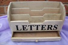 New Gisela Graham Distressed Wooden Letters Rack Post Organiser with Drawer