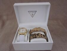 GUESS Gold Tone & Crystal Leather Band Interchangeable 3 Piece Watch Set NWB