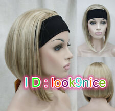 Ladies Cute Short BOB 3/4 wig with headband blonde mixed straight half wigs