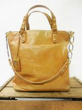 BADGLEY MISCHKA Tan Studded Distressed Leather Chainlink Tote Bag Shoulder Purse