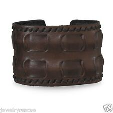 Brown Leather Cuff Bracelet Wide Woven Men's Unisex Adjustable Fits Any Wrist