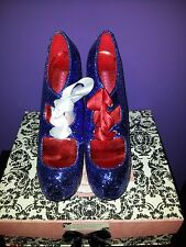 BNWB Bordello Blue Glitter Platform Shoes Heels Dorothy - Size 6 - RRP £110