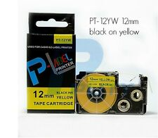 Casio XR-12YW Compatible Black on Yellow 12mm 8m Label Tape KL60 62 100 130 820